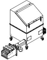 06652851 Automatyczny podajnik do spalania biomasy 1m3 400V 120kW, głowica: żeliwna (paliwo: trociny, wióry, zrębki, kora, brykiet, agrobrykiet, pellet, pestki owoców)