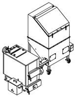 06652959 Automatyczny zestaw do spalania biomasy 0,6m3 400V 30kW, głowica: żeliwna, z systemem usuwania popiołu (paliwo: trociny, wióry, zrębki, kora, brykiet, agrobrykiet, pellet, pestki owoców)