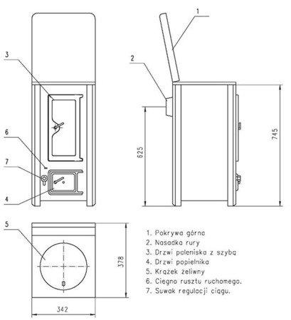 DOSTAWA GRATIS! 22774591 Piec grzewczy, 4,5kW Płomień 1/S na drewno