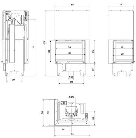Wkład kominkowy 12kW VN 700/480 BS Gilotyna (lewa boczna szyba bez szprosa, drzwi podnoszone do góry) - spełnia anty-smogowy EkoProjekt 30072660